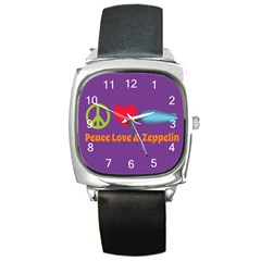Peace Love & Zeppelin Square Leather Watch
