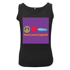 Peace Love & Zeppelin Women s Tank Top (Black)