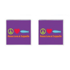 Peace Love & Zeppelin Cufflinks (square)