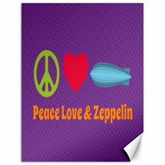 Peace Love & Zeppelin Canvas 12  x 16  (Unframed)
