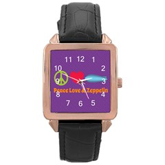 Peace Love & Zeppelin Rose Gold Leather Watch