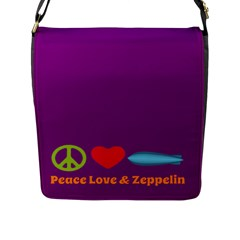 Peace Love & Zeppelin Flap Closure Messenger Bag (large)