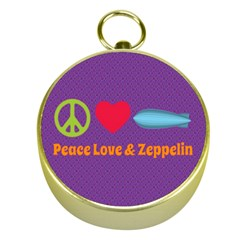 Peace Love & Zeppelin Gold Compass
