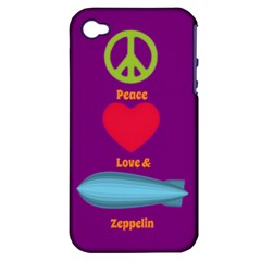 Peace Love & Zeppelin Apple Iphone 4/4s Hardshell Case (pc+silicone)