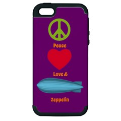 Peace Love & Zeppelin Apple Iphone 5 Hardshell Case (pc+silicone)