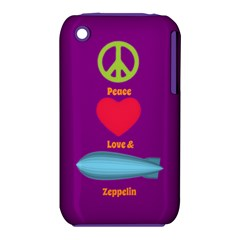 Peace Love & Zeppelin Apple iPhone 3G/3GS Hardshell Case (PC+Silicone)