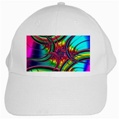 Abstract Neon Fractal Rainbows White Baseball Cap