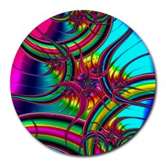 Abstract Neon Fractal Rainbows 8  Mouse Pad (round)