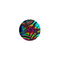 Abstract Neon Fractal Rainbows 1  Mini Button Magnet