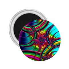 Abstract Neon Fractal Rainbows 2.25  Button Magnet