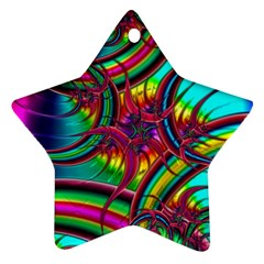 Abstract Neon Fractal Rainbows Star Ornament