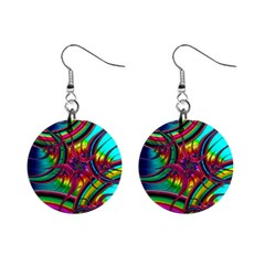 Abstract Neon Fractal Rainbows Mini Button Earrings
