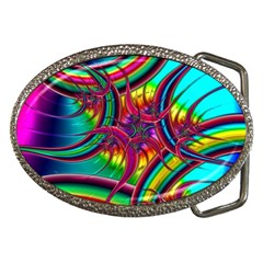 Abstract Neon Fractal Rainbows Belt Buckle (oval)