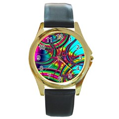 Abstract Neon Fractal Rainbows Round Leather Watch (gold Rim)