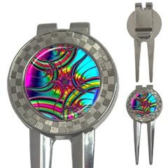 Abstract Neon Fractal Rainbows Golf Pitchfork & Ball Marker