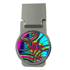 Abstract Neon Fractal Rainbows Money Clip (Round)