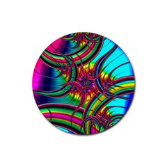 Abstract Neon Fractal Rainbows Drink Coasters 4 Pack (Round)