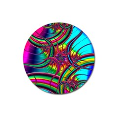 Abstract Neon Fractal Rainbows Magnet 3  (Round)
