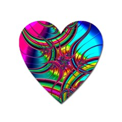 Abstract Neon Fractal Rainbows Magnet (heart)