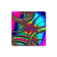 Abstract Neon Fractal Rainbows Magnet (Square)