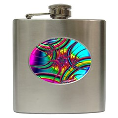Abstract Neon Fractal Rainbows Hip Flask