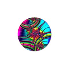 Abstract Neon Fractal Rainbows Golf Ball Marker