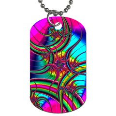 Abstract Neon Fractal Rainbows Dog Tag (Two-sided)