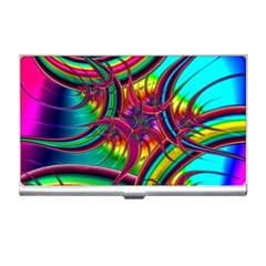 Abstract Neon Fractal Rainbows Business Card Holder