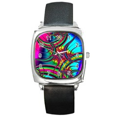 Abstract Neon Fractal Rainbows Square Leather Watch