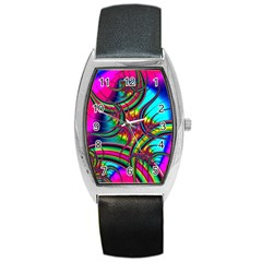 Abstract Neon Fractal Rainbows Tonneau Leather Watch