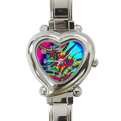 Abstract Neon Fractal Rainbows Heart Italian Charm Watch