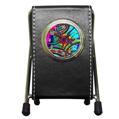 Abstract Neon Fractal Rainbows Stationery Holder Clock