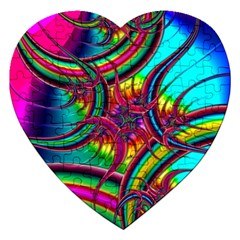 Abstract Neon Fractal Rainbows Jigsaw Puzzle (Heart)