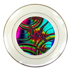 Abstract Neon Fractal Rainbows Porcelain Display Plate