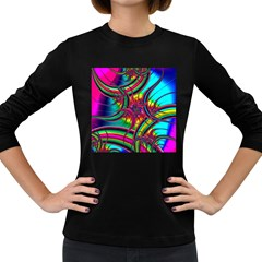 Abstract Neon Fractal Rainbows Women s Long Sleeve T-shirt (Dark Colored)