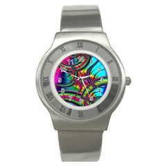 Abstract Neon Fractal Rainbows Stainless Steel Watch (slim)