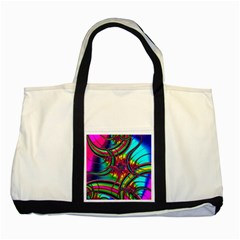 Abstract Neon Fractal Rainbows Two Toned Tote Bag