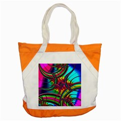 Abstract Neon Fractal Rainbows Accent Tote Bag