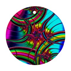 Abstract Neon Fractal Rainbows Round Ornament (Two Sides)