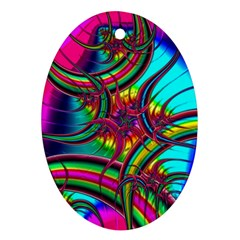 Abstract Neon Fractal Rainbows Oval Ornament (Two Sides)