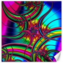 Abstract Neon Fractal Rainbows Canvas 16  X 16  (unframed)
