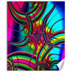 Abstract Neon Fractal Rainbows Canvas 20  x 24  (Unframed)
