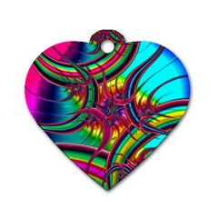 Abstract Neon Fractal Rainbows Dog Tag Heart (two Sided)