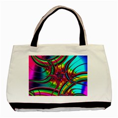 Abstract Neon Fractal Rainbows Twin-sided Black Tote Bag