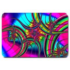 Abstract Neon Fractal Rainbows Large Door Mat