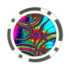 Abstract Neon Fractal Rainbows Poker Chip