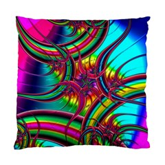 Abstract Neon Fractal Rainbows Cushion Case (Two Sided)