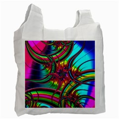 Abstract Neon Fractal Rainbows White Reusable Bag (Two Sides)