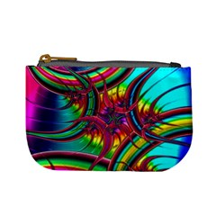 Abstract Neon Fractal Rainbows Coin Change Purse