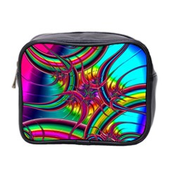 Abstract Neon Fractal Rainbows Mini Travel Toiletry Bag (two Sides)
